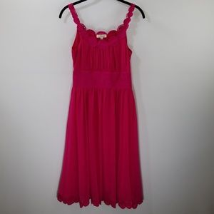 Chloe Fuchsia Silk Embroidered A-line Dress Size 4